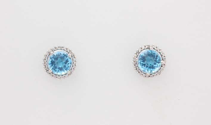 18k Wg Blue Topaz Diamond Earrings
